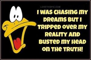 I was chasing my dreams funny quotes quote funny quote funny quotes looney toons daffy duck humor by jenny.taylor.94617