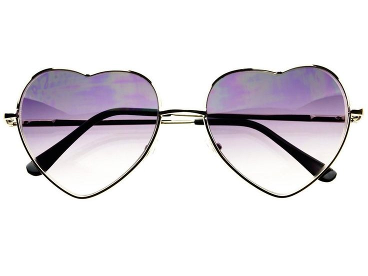 Retro Fashion Silver Metal Heart Shaped Womens Sunglasses W1533
