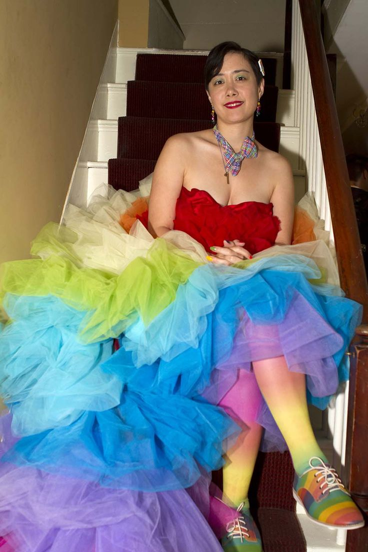 This dress from Addie and Brandon's queer rainbow wedding is the pop of color you never knew you needed!