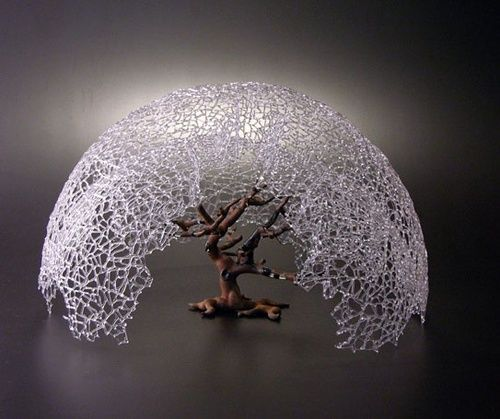 """braeburn"""" - Micah Evans - 2010, borosiicate glass, iron, 25 inches wide  -  apple tree and atmosphere of my youth"""