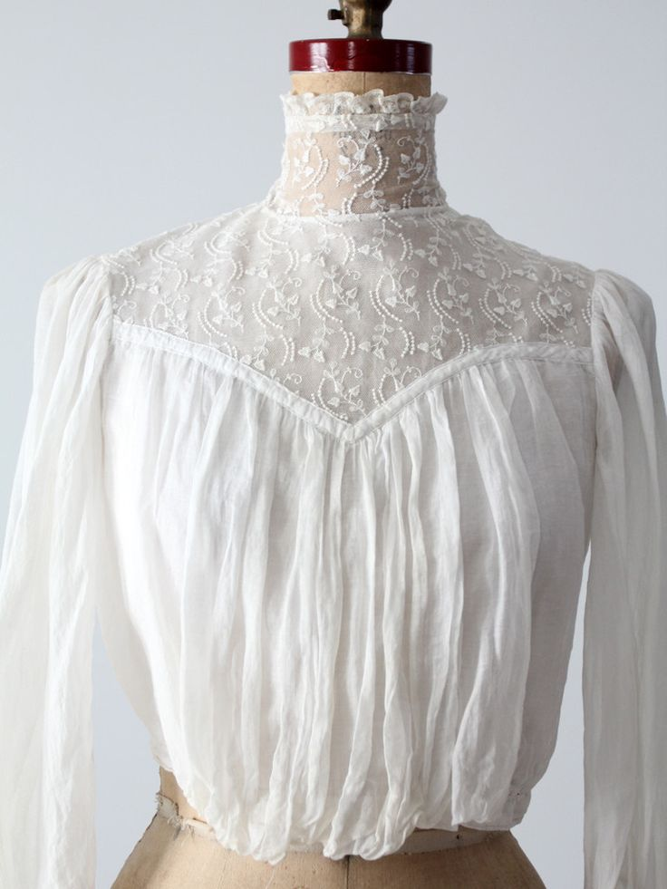 Victorian Lace & Cotton Blouse with Gathers across the Front & Top of Sleeves ....