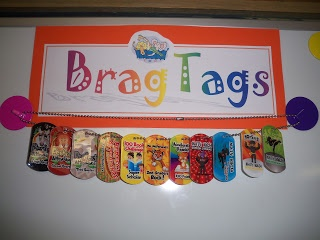 """""""Brag Tags""""..I LOVE this idea, and wish I'd seen it sooner. Since it's end of 3rd quarter now, maybe I'll do individual end-of-year awards for all the kids."""