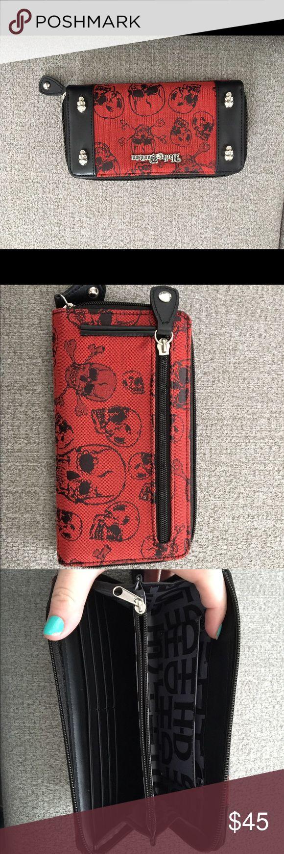 Harley Davidson wallet Red and black skull Harley Davidson wallet Harley-Davidson Bags Wallets