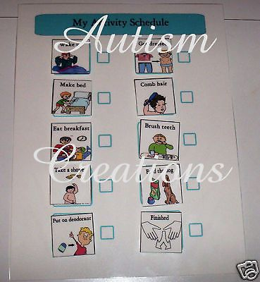 Pecs Autism Homeschool Therapy Morning Schedule Board   eBay