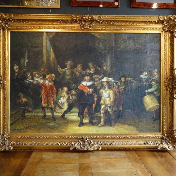 Zeer Groot Schilderij De Nachtwacht Naar Rembrandt