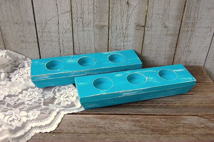 Turquoise wood candle holder