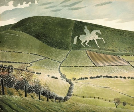White Horse - Eric Ravilious. White Horse in Dorset. During the 1790s, George III spent his holidays in Dorset at the port of Weymouth, establishing it as the first English seaside resort, and in 1808 this equestrian figure was carved into nearby Osmington Hill to celebrate his patronage.