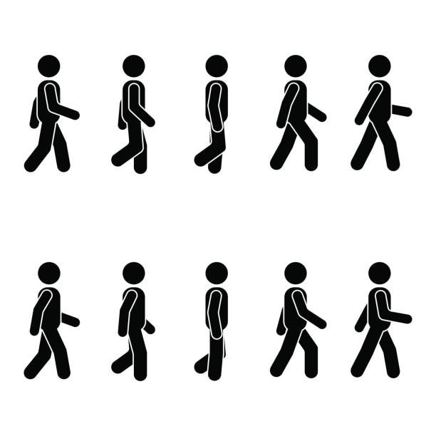 Man People Various Walking Position Posture Stick Figure Vector Person Icon Pictogram Walking Animation