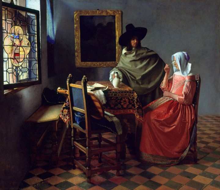 Johannes Vermeer THE GLASS OF WINE (Het glas wijn) c. 1658-1660 oil on canvas 25 5/8 x 30 1/4 in. (65 x 77 cm.) Staatliche Museen Preußischer Kulturbesitz,  Gemäldegalerie, Berlin