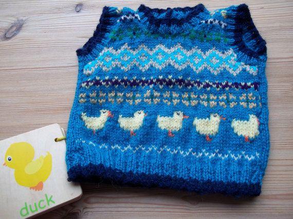 Fairisle tank top  unisex baby vest top   by WilverlyWoollens