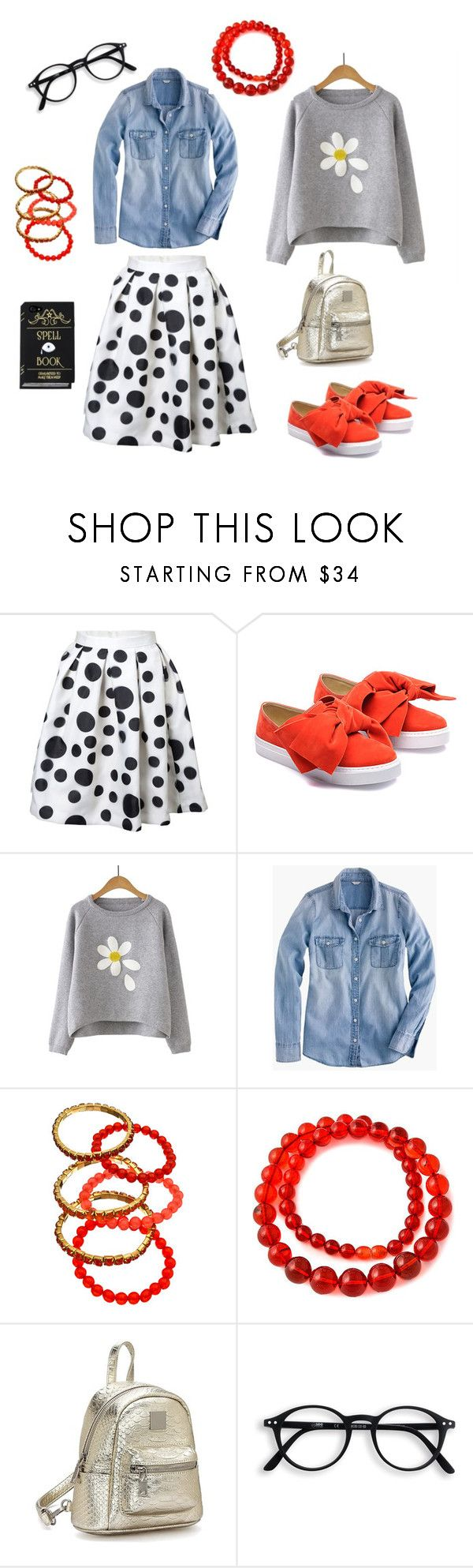 """Gamine look"" by olenkamnn ❤ liked on Polyvore featuring Just Bow, J.Crew and Blu Bijoux"