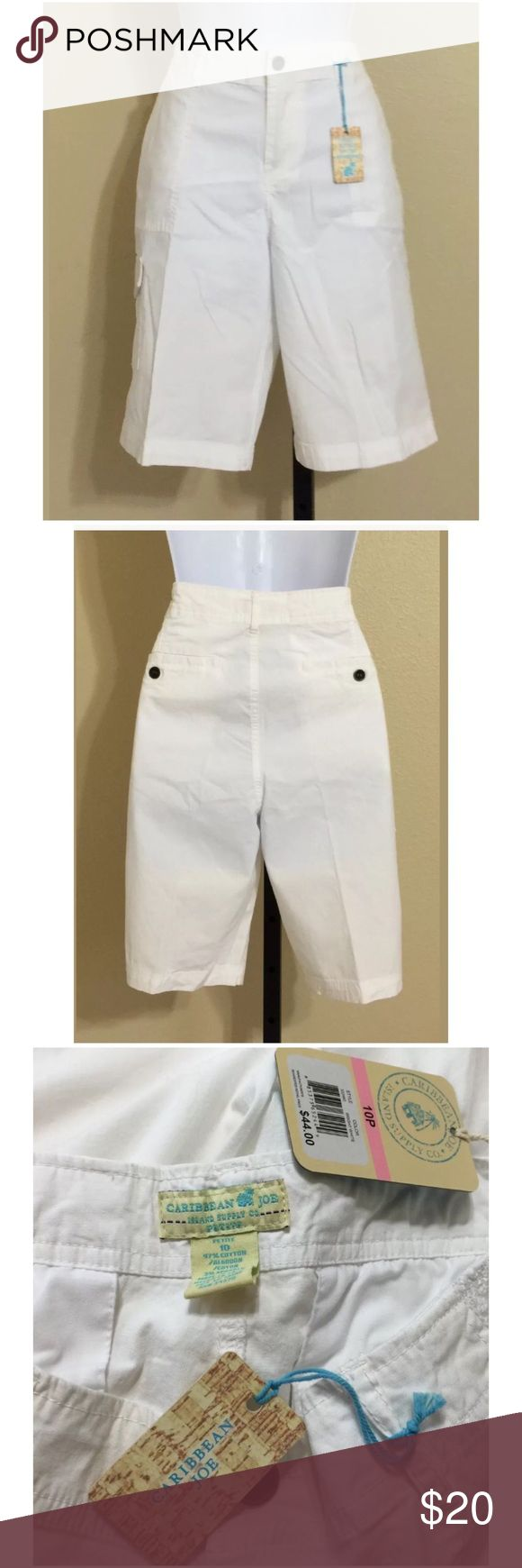 Caribbean Joe Shorts Size 10P Caribbean Joe Petite Women's Bermuda, Walking Shorts Size 10P White Zip Front 1 External Metal Button closure 2 Front Patch Pockets 2 Rear Pockets With Metal Button Closure Extra Buttons Included Belt Loops 1 Front / side Thigh Pocket With Flap & Metal Snap Closure Machine Washable 97% Cotton 3% Spandex Inseam Approx. 10 Inches Rise Approx. 10 Inches Waist Approx. 31 Inches Hips Approx. 39 Inches Cuff Approx. 18 Inches Compare Measurements To Your Own Well…