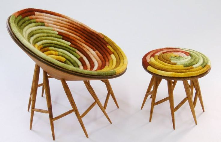 Taking traditional arts to a new modern Level: These chairs are made with traditional Colombian weaved fabrics. #handicraft #colourful #colombia #Tradition #travelandmakeadifference
