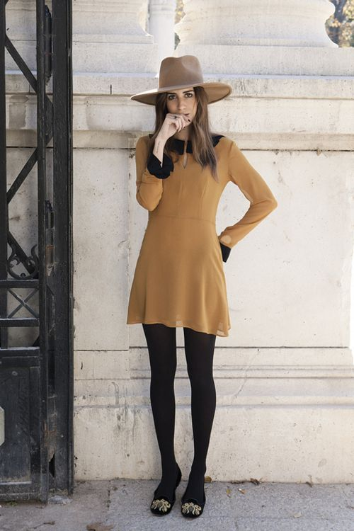 brown wide brimmed hat and black collared tan long sleeved dress w/ black tights -- retro vintage redo.  by lilly_unique
