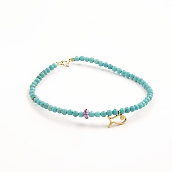 Handmade necklace of delicate turquoise 3 chil.To bracelet is tied with miniature 14K gold element in the shape small boat.Αlso clasp is 14K gold. Length 18.5 to 19 cm