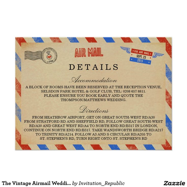The Vintage Airmail Wedding Collection