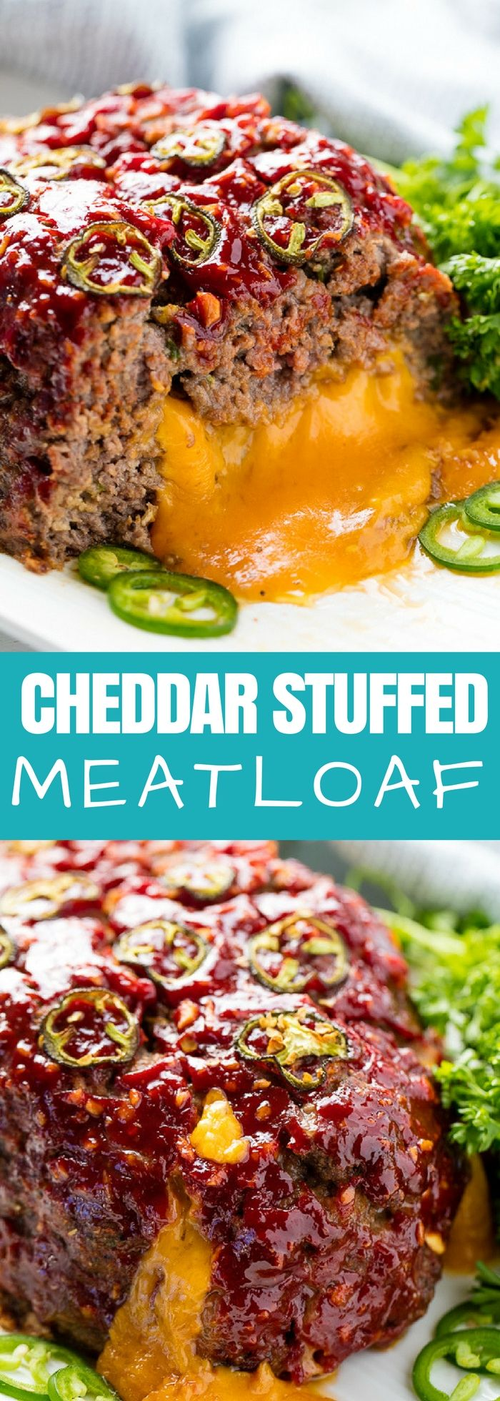 This easy meatloaf recipe is for cheese lovers only! There's an entire 8 ounce brick of ooey gooey melted cheddar cheese in the middle of this Jalapeno Cheddar Stuffed Meatloaf that takes it over the top!