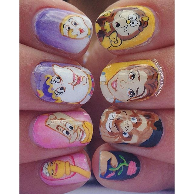 """Beauty and the Beast Nails! My super awesome camera broke so now I have to use my iPod to take my pictures. It is so sad"" Photo taken by @iliketopaintmynails on Instagram, pinned via the InstaPin iOS App! http://www.instapinapp.com (09/14/2015)"