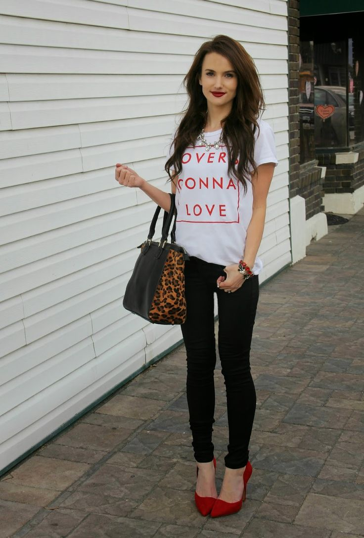 Kiss Me Darling: Lovers Gonna Love featuring The Light Blonde Valentines Day outfit, leopard bag, red heels, coated denim