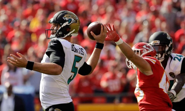 Jaguars vs. Chiefs  -  19-14, Chiefs  -  November 6, 2016  -    Jacksonville Jaguars quarterback Blake Bortles (5) throws as Kansas City Chiefs defensive back Daniel Sorensen (49) reaches toward him during the first half of an NFL football game in Kansas City, Mo., Sunday, Nov. 6, 2016.