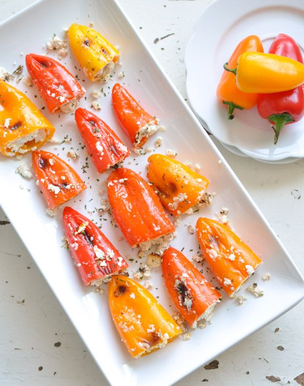 These Stuffed Mini Peppers are a delicious and healthy snack you can serve for the big game.  GF+P