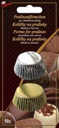 Hliníkové košíčky na pralinky 50 ks č. P-904 zlatý/stříbrný