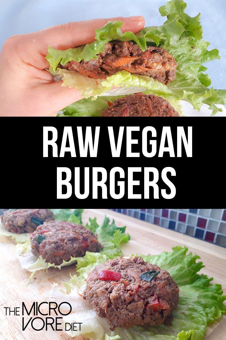 Estas deliciosas hamburguesas veganas crudas, deliciosas y llenas de nutrientes, se pueden hacer ...