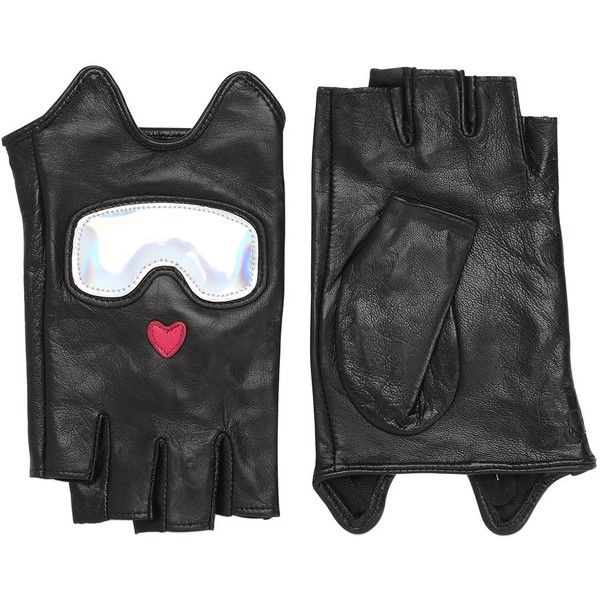 Karl Lagerfeld Women Ski Holiday Leather Fingerless Gloves ($120) ❤ liked on Polyvore featuring accessories, gloves, black, fingerless leather gloves, evening gloves, fingerless gloves, karl lagerfeld and leather gloves