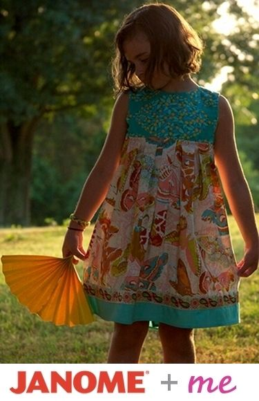 Free Pattern - Size 2 - 8 - Paper Fan dress pattern from Anna Maria Horner on Janome + Me #FreePattern #Project #DIY