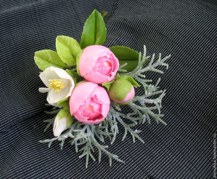 """Купить Бутоньерка/брошь с пионами """"Счастлив(-а) навсегда!"""". - жених, украшение для жениха, цветы ручной работы"""