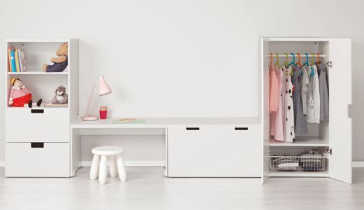 Aufbewahrungssysteme für Kinderzimmer wie z. B. STUVA Aufbewahrung mit Bank, weiß