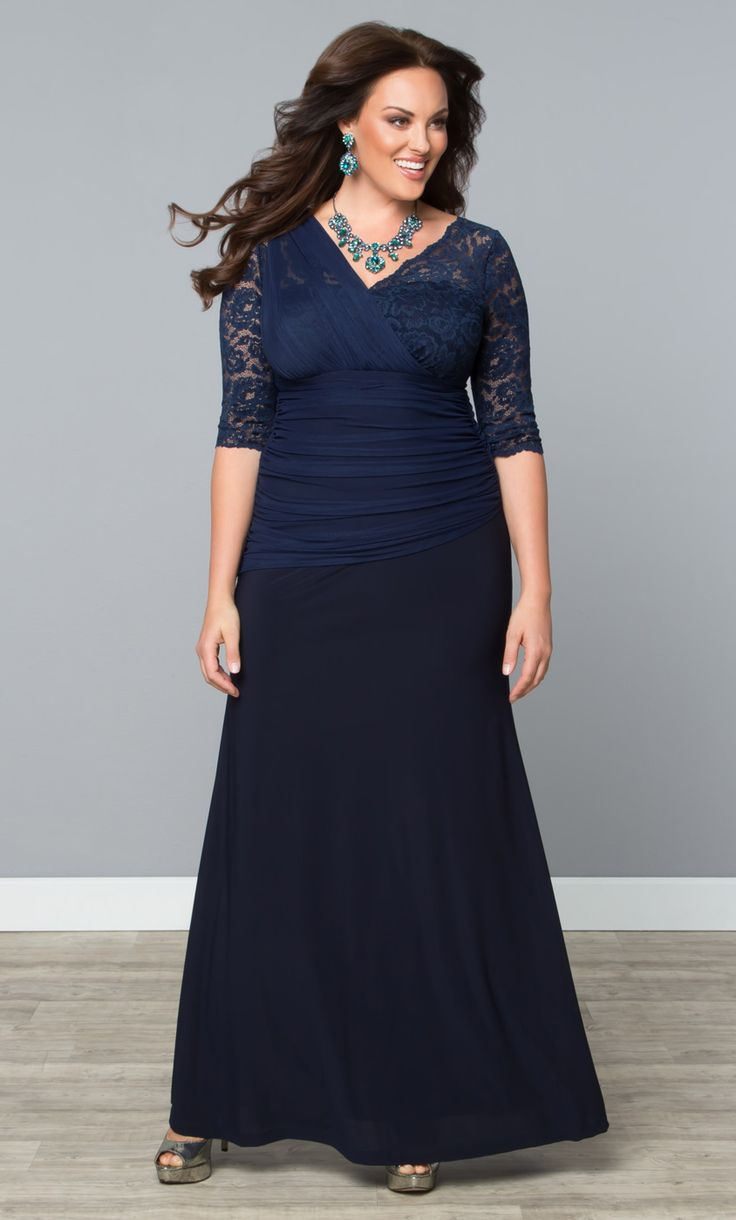 Our plus size Soiree Evening Gown is a gorgeous option for a mother-of-the-bride or mother-of-the-groom.  www.kiyonna.com  #KiyonnaPlusYou  #MadeintheUSA  #WeddingParty  #Formal