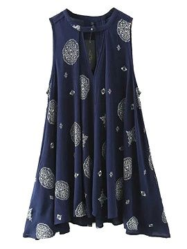 Shop Navy Tribe Pattern Cut Out Detail Swing Dress from choies.com .Free shipping Worldwide.$24.9