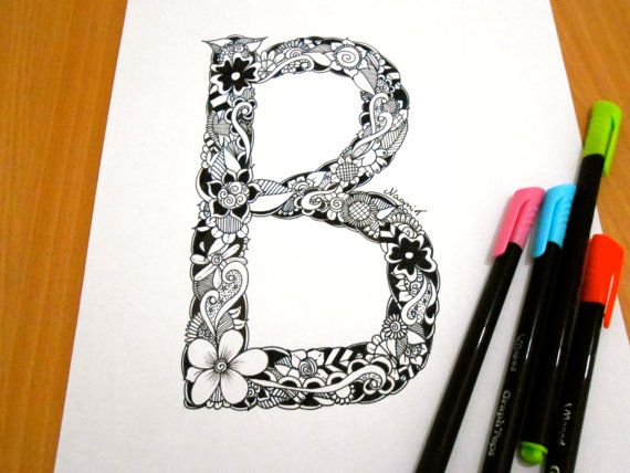 Letter B Decoration Coloring page Adult coloring by GardenDoodles