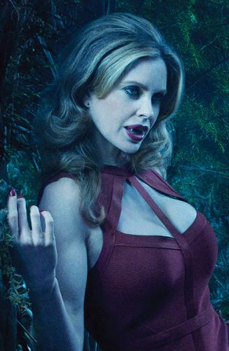 Kristin Bauer van Straten as vampire Pam on True Blood, she scares me... I think I LIKE it!