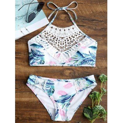 Bikini con estampado de hojas y apliques de encaje para mujer