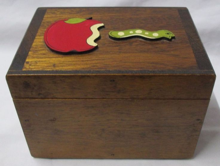 Vintage Handcrafted Wood Recipe Trinket Box by Rodger Prince Apple & Worm VGC