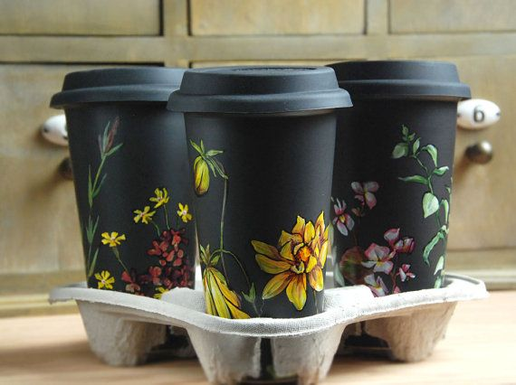Custom Illustrated for You with Botanical Design - Black Ceramic Eco Friendly Travel Mug Double Walled Porcelain with Lid on Etsy, £53.82