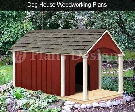 "36"" x 60"" Gable Roof Style w Porch Dog House Plans 90305G Size Up to 150 Lbs 