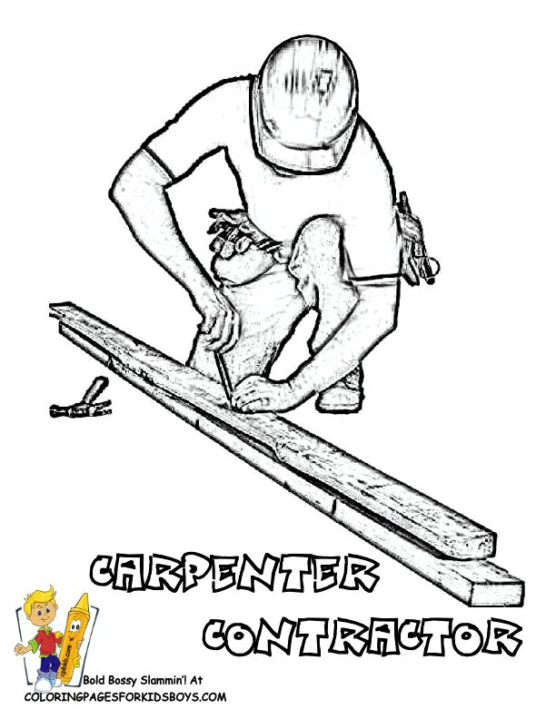 _ free worker construction coloring pages for kids - Construction Worker Coloring Page