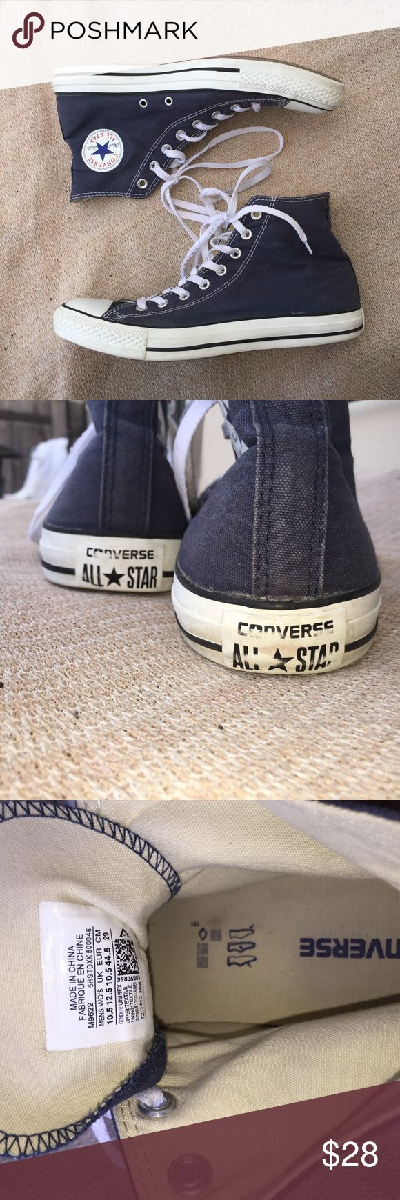 All Star Converse High Tops In great condition. One of the shoelaces is frayed (you could see in the last picture) but is a cheap fix. Practically new. Converse Shoes Sneakers