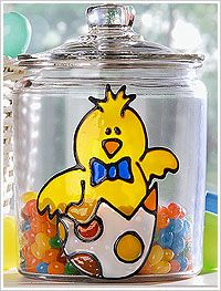 Little Chick Easter Candy Jar designed by Holli Long, made with Gallery Glass. #crafts #plaidcrafts #galleryglass