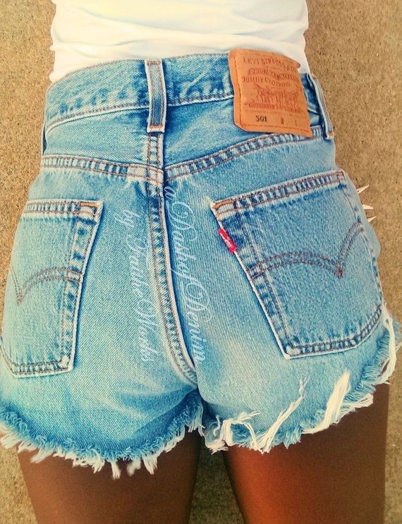 Levis High Waisted Frayed Denim Jean Shorts on Etsy, $40.00