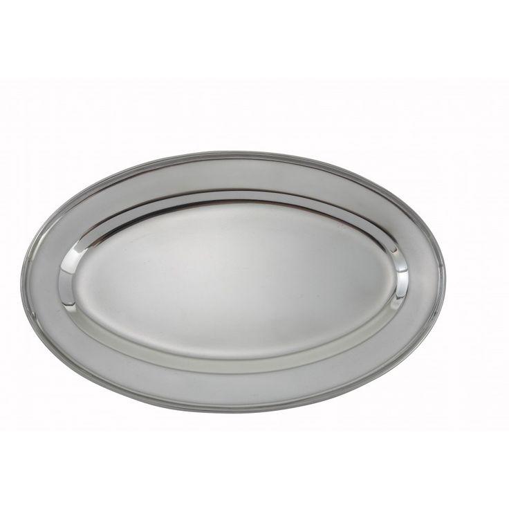 Heavy Stainless Steel Oval Platter - 14 X 8-3/4