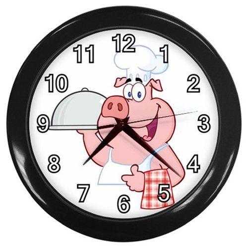 Pig+Chef+Black+Frame+Kitchen+Wall+Clock