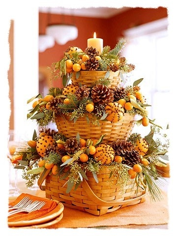 From Tingle Lanes blog but it's from BHG. Just imagine recreating this with some baskets from Dollar Tree along with some of their trimmings and some of their floral foam. Just add the fresh oranges with the cloves in them, and you have something beautiful to look at and to smell.