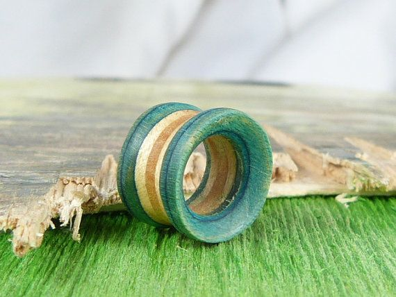 Teal Ear Tunnel, Recycled Skateboard Ear Tunnel, Tunnels and Plugs, Reclaimed Skateboard Tunnel, Handcarved to order by SESH artist,