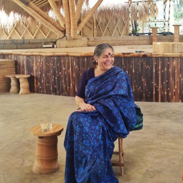 Dr. Vandana Shiva, a prominent environmental activist and board member of the International Forum on Globalization, visited Green School in  August 2014.