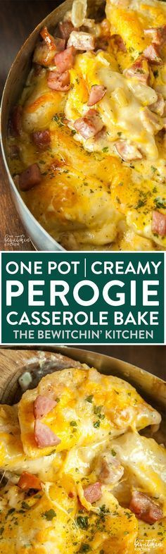 One pot perogie casserole bake - these creamy baked pierogies are AMAZING and a super easy dinner recipe! Perogies, cream, butter, garlic sausage, bacon, onions and cheese.