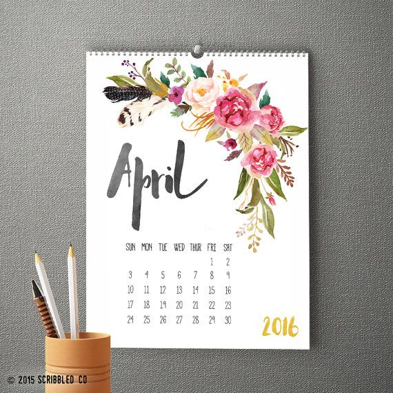 2016 unique wall calendar with watercolor flowers. Looking for a unique…